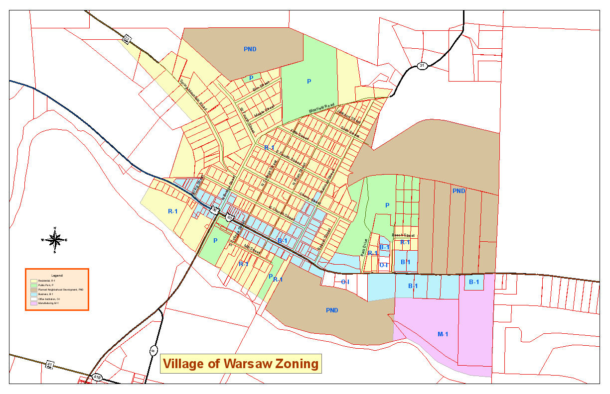Village of Warsaw Zoning Map